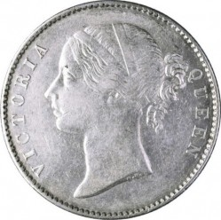 "Moneda > 1 rupia, 1840 - India - Británica  (""VICTORIA QUEEN"" on the sides of head) - obverse"