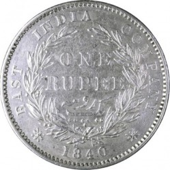 "Moneda > 1 rupia, 1840 - India - Británica  (""VICTORIA QUEEN"" on the sides of head) - reverse"