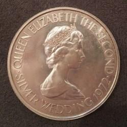 Moneta > 2½sterlina, 1972 - Jersey  (25° Anniversario - Matrimonio della Regina Elisabetta II e del Principe Filippo) - obverse