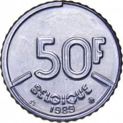 """Монета > 50франка, 1987-1993 - Белгия  (Надпис на френски - """"BELGIQUE"""") - reverse"""