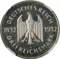 Moneda > 3reichsmark, 1932 - Alemania  (100 aniversario de la muerte de Goethe) - obverse