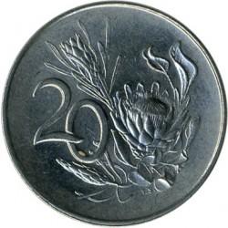 "Монета > 20центов, 1965-1969 - ЮАР  (Надпись на языке африкаанс - ""SUID-AFRIKA"") - reverse"