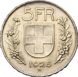 錢幣 > 5法郎, 1924-1928 - 瑞士  - reverse
