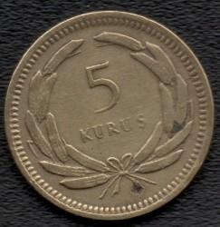 Moneta > 5kurušai, 1949-1957 - Turkija  - reverse