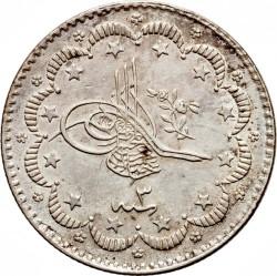Moneta > 5kurušai, 1876 - Osmanų imperija  (Uogos dešinėje virš tugros) - obverse