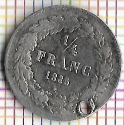 Mynt > ¼franc, 1834-1844 - Belgia  - obverse