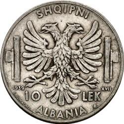 Moneda > 10lekë, 1939 - Albània  - reverse
