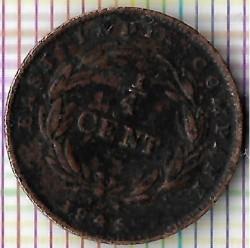 Moneta > ¼cent, 1845 - Insediamenti dello Stretto  - reverse