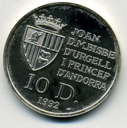 Moneda > 10diners, 1992 - Andorra  (Ós Bru) - obverse