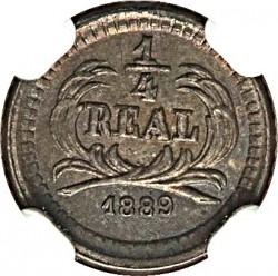 """Монета > ¼реала, 1889 - Гватемала  (Мітка мд """"G"""" під номіналом - Гватемала) - reverse"""