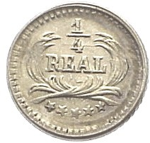 Moneda > ¼real, 1889-1891 - Guatemala  - reverse