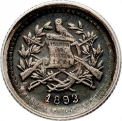 Moneta > ½ real, 1893 - Guatemala  (Seated figure on the reverse. Small coat of arms) - obverse