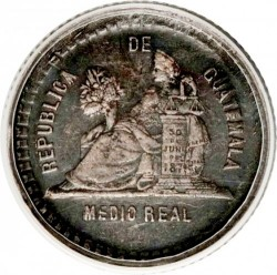 Moneta > ½ real, 1893 - Guatemala  (Seated figure on the reverse. Small coat of arms) - reverse