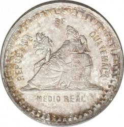 Moneda > ½real, 1893 - Guatemala  (Figura asseguda en el revers. Escut gran) - reverse