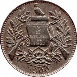 Moneta > ½real, 1900-1901 - Guatemala  - obverse