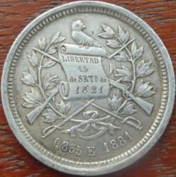 Moneta > 2reals, 1881 - Guatemala  - obverse