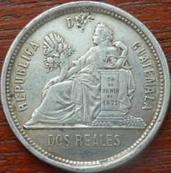 Munt > 2reals, 1881 - Guatemala  - reverse