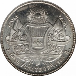 Moneda > 4reales, 1863-1865 - Guatemala  - reverse