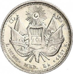 Монета > ½реала, 1867-1869 - Гватемала  - reverse