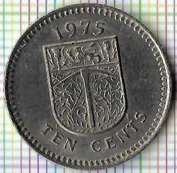 Кованица > 10центи, 1975 - Родезија  - reverse