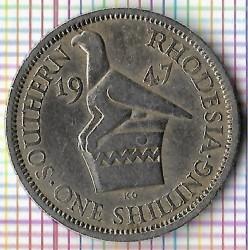 Monēta > 1šiliņš, 1947 - Dienvidrodēzija  - reverse