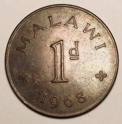 Coin > 1penny, 1967-1968 - Malawi  - reverse