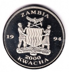 Moneda > 2000 kwacha, 1994 - Zambia  (1994 FIFA World Cup /one soccer player/) - reverse