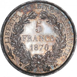 Monedă > 5 franci, 1870 - Franța  (Facing left, 'LIBERTE·EGALITE·FRATERNITE') - reverse