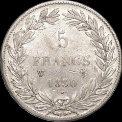 "العملة > ٥فرنك, 1830 - فرنسا  (Louis Philippe I (with ""I"")) - reverse"