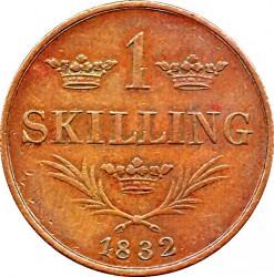 Монета > 1скіллінг, 1832 - Швеція  - reverse