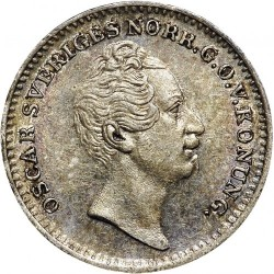 Монета > 1/16ригсдалерспесие, 1845-1855 - Швеция  - obverse
