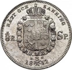 Монета > ⅛ріксдалераспєсіє, 1852 - Швеція  - reverse