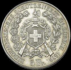 Moneta > 5franchi, 1872 - Svizzera  (Festival del Tiro di Zurigo) - reverse