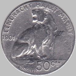 Munt > 50centimes, 1901 - Belgie  (Legend in Dutch - 'DER BELGEN') - reverse