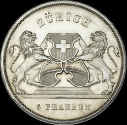 Moneta > 5franchi, 1859 - Svizzera  (Festival del Tiro di Zurigo) - reverse
