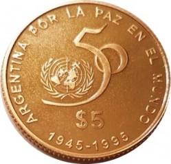Moneda > 5pesos, 1995 - Argentina  (50º Aniversario de la ONU) - reverse