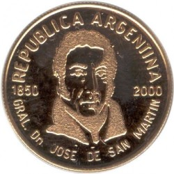 Moneda > 5pesos, 2000 - Argentina  (150th Anniversary - Death of General San Martin) - obverse