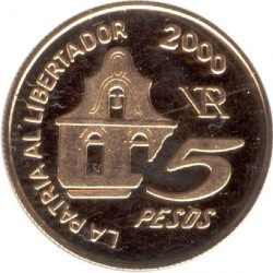 Moneda > 5pesos, 2000 - Argentina  (150th Anniversary - Death of General San Martin) - reverse