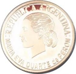 Moneda > 5pesos, 2002 - Argentina  (179º Aniversario - Muerte de Eva Perón) - obverse