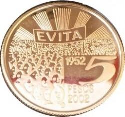 Moneda > 5pesos, 2002 - Argentina  (179º Aniversario - Muerte de Eva Perón) - reverse