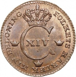 Монета > ¼скилинг, 1819-1830 - Швеция  - obverse