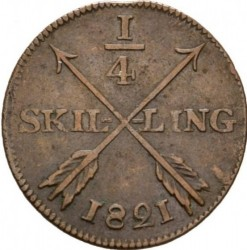 Pièce > ¼skilling, 1819-1830 - Suède  - reverse