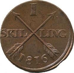 Монета > 1скилинг, 1812-1817 - Швеция  - reverse