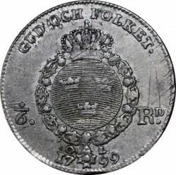 Монета > ⅙риксдалер, 1799 - Швеция  - reverse