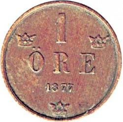 Münze > 1Öre, 1874-1877 - Schweden   - reverse