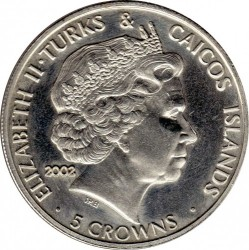 Moneta > 5corone, 2002 - Turks e Caicos (Isole)  (50° anniversario - Ascesa della regina Elisabetta II ) - obverse