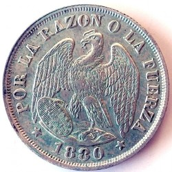 Moneta > 20centavos, 1879-1893 - Cile  - obverse