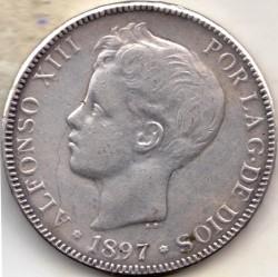 Монета > 5песети, 1896-1899 - Испания  - obverse