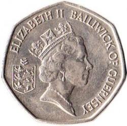 Moeda > 50pence, 1997 - Guernsey  (Large Size: 30mm, 13.5g) - obverse