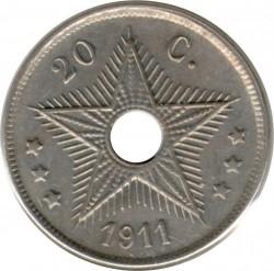 Moneta > 20centesimi, 1910-1911 - Congo belga  - reverse